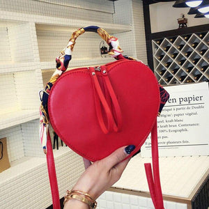 Heart Shaped Design Small Pu Leather Crossbody Bags for Women Fashion Female Simple Solid Color Shoulder Handbags | akolzol