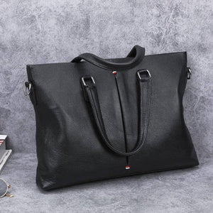2020 New Fashion Genuine Leather Men Briefcase Natural skin Business Bag Laptop Bags Korean Style Male Shoulder Messenger Bags (Black) | akolzol