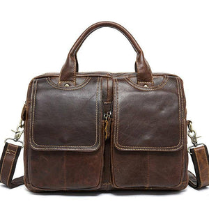 Vintage Natural Cowskin Men's Business Bag Genuine Leather Briefcases Laptop Shoulder Messenger Bag Totes Document Office Bags | akolzol