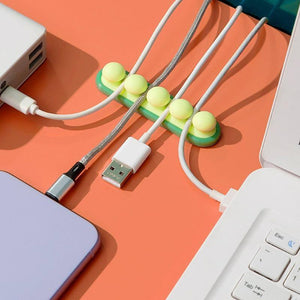 USB Cable Organzier Silicone Charging Cable Winder Mouse Cable Holder Office Desktop Flexible Cable Management Clip | akolzol