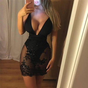 Black Floral Printed Sexy Lace Mesh Mini Dress Women Ladies Deep V Neck Bodycon Evening Party Pencil Dress | Black, Bodycon, Deep, Dress, Evening, Floral, Lace, Ladies, Mesh, Mini, Neck, Party, Pencil, Printed, Sexy, Women | akolzol