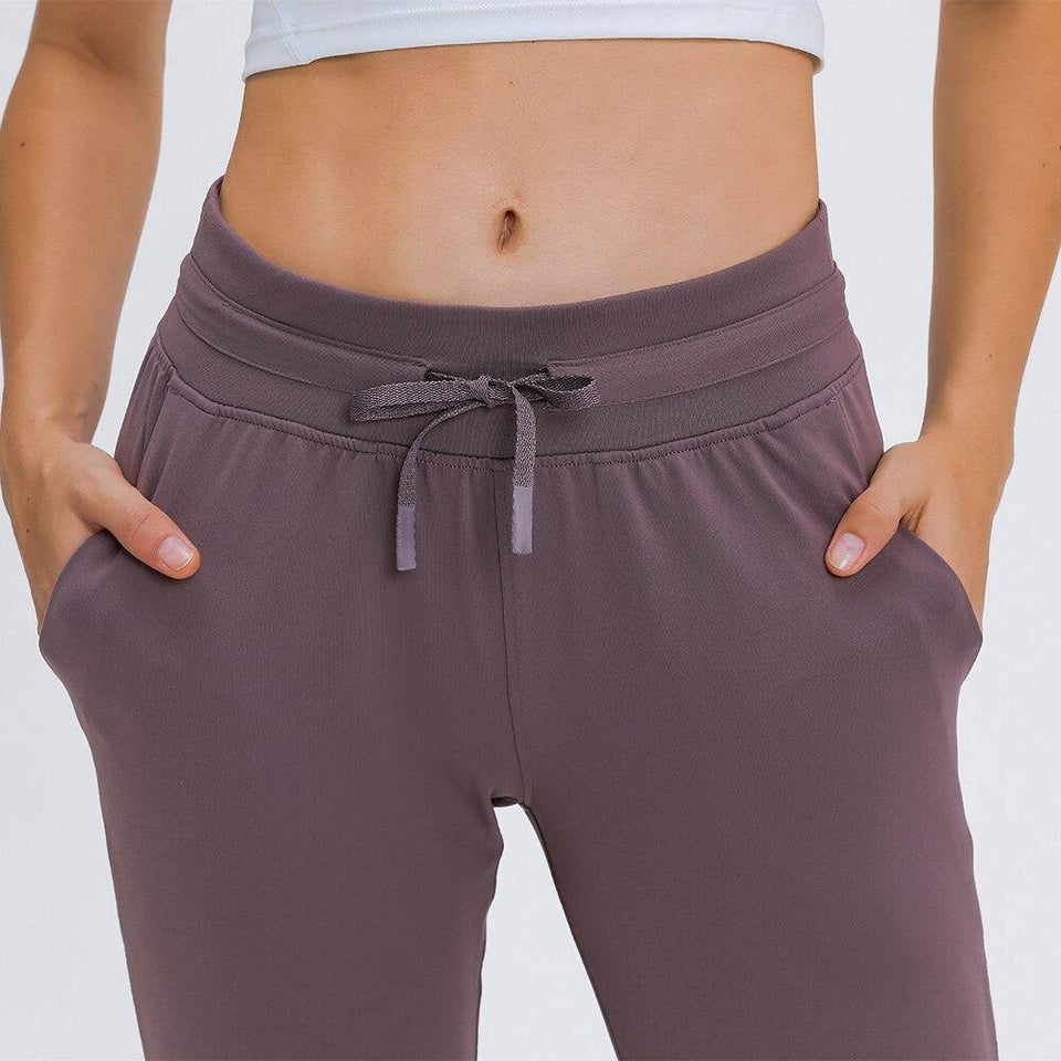 Naked-feel Fabric Workout Sport Joggers Pants Women Waist Drawstring Fitness Running Sweatpants with Two Side Pocket | akolzol