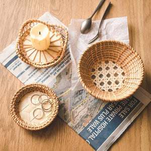 Handmade Bamboo Weaving Round Storage Basket Fruit Dish Rattan Bread Basket for Kitchen Food Picnic Bread Sundry Mini Container | akolzol