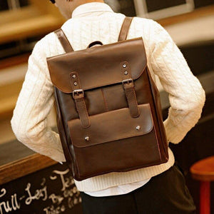 Vintage Crazy Horse PU Leather Male Backpacks Men College School Bag Daypacks Travel Laptop Men Casual Backpack | akolzol