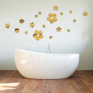 3D Mural Flower Acrylic Mirror Wall Stickers DIY Art Wall Decor Stickers Home Decor Living Room Mirrored Decorative Sticker | akolzol