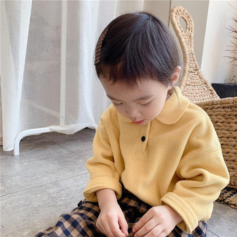 Autumn Winter soft Fleece doll collar long sleeve shirts Korean style girls warm loose Tops | akolzol