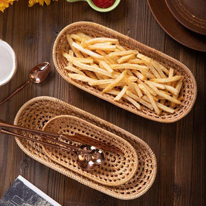 Hand-woven Storage Basket Kitchen Rattan Bread Basket Oval  Tray Food Serving Platter For Dinner Home Tea Fruit Snacks Display | akolzol