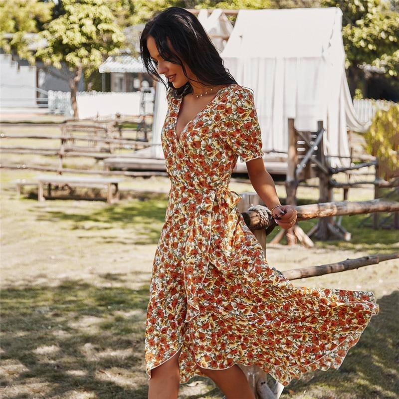 Spring New Floral Dress Women Casual Short Sleeve High Waist Print Bandage Dress For Women 2021 Summer Dress | akolzol