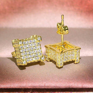 S925 Sterling Silver Color Earring Square \diamond Jewelry for Women Aretes De Mujer Silver 925 Jewelry 14K Yellow Stud Earrings | 14, 925, Aretes, Color, De, diamond, Earring, Earrings, for, Jewelry, Mujer, Silver, Square, Sterling, Stud, Women, Yellow | akolzol