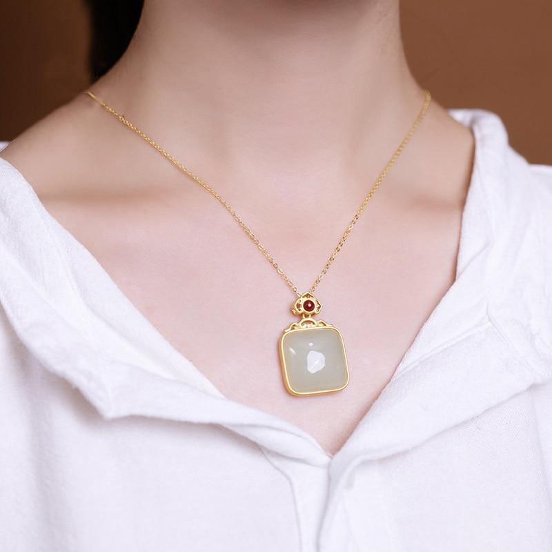 Natural Jade Gemstone Pendant 14K Gold Necklace Bizuteria Bijoux Femme Collares Naszyjnik 14k Gold Jewelry Jade Emerald Pendants | akolzol