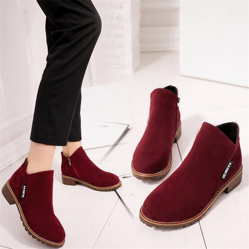 New 2020 Women Ankle Boots Flock Plus Size EU42 Autumn Winter Shoes Woman Short Boot Low Heel Ladies Botas Mujer | akolzol