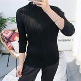 pleated shirt 2020 Women's t-shirt spring Korean Turtleneck three-quarter sleeve bottoming aesthetic clothes outfits | akolzol