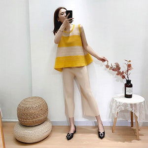 Pleated stripe top women's clothing summer 2020 loose fashion color matching T-shirt aesthetic clothing | akolzol