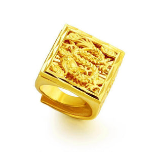 18K Gold Filled Not Fade Jewelry Ring for Men Fine Bizuteria Anillos De Bijoux Femme Gemstone Anel 14k Gold Jewelry for Males (Resizable Gold-color) | akolzol