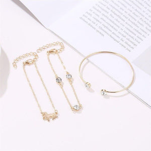 3Pcs/set Fashion High Quality Gold Women's Bracelet Luxury Brand Accesorios Mujer Silver Zircon Bangles For Women Cuff | akolzol