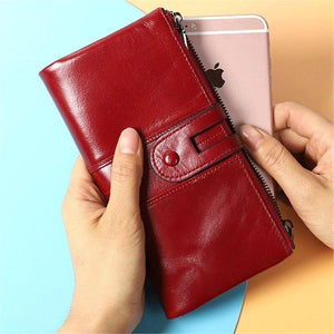Genuine leather women luxury phone wallet designer long clutch ladies wallet card holder coin purse slim wallet cartera mujer | akolzol