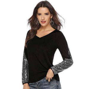 2020 Autumn Sequin T-shirt Women Sexy Tshirt Female Fashion T Shirt For Women Long Sleeve V Neck Tee Shirt Women Black | akolzol