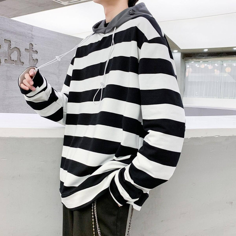 Striped Hoodies Men's Fashion Contrast Color Casual Cotton Hooded Sweatshirt Men Streetwear Loose Hip Hop Pullover Hoodie Mens | akolzol