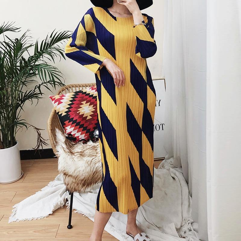 Pleated geometric diamond printing long bohemian dress women Korean fashion causal wrap dress aesthetic clothes | akolzol