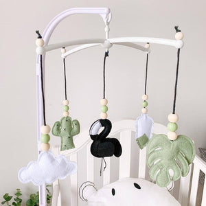 Nordic Wooden Beads Wind Chimes with Felt Flamingo Newborn Bed Hanging Windbell Crib Tent Kids Room Decorations Ornaments | akolzol