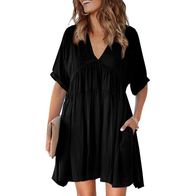 Spring Summer Women Clothes V-neck Dress Solid color vintage Sundress Loose Black Midi Dresses For Woman's Fashion 2021 Clothing | 2021, Black, Clothes, Clothing, color, Dress, Dresses, Fashion, For, Loose, Midi, Solid, Spring, Summer, Sundress, vintage, Vneck, Womans, Women | akolzol