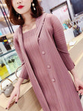 2020 New autumn winter two piece dress pleated plus size women Korean fashion button Batwing three quarter sleeve dress | akolzol