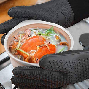 2Pieces Kitchen Heat-Resistant Oven Gloves Barbecue Grill Silicone Cooking Gloves One Pair BBQ Gloves With Long Sleeve Baking | akolzol