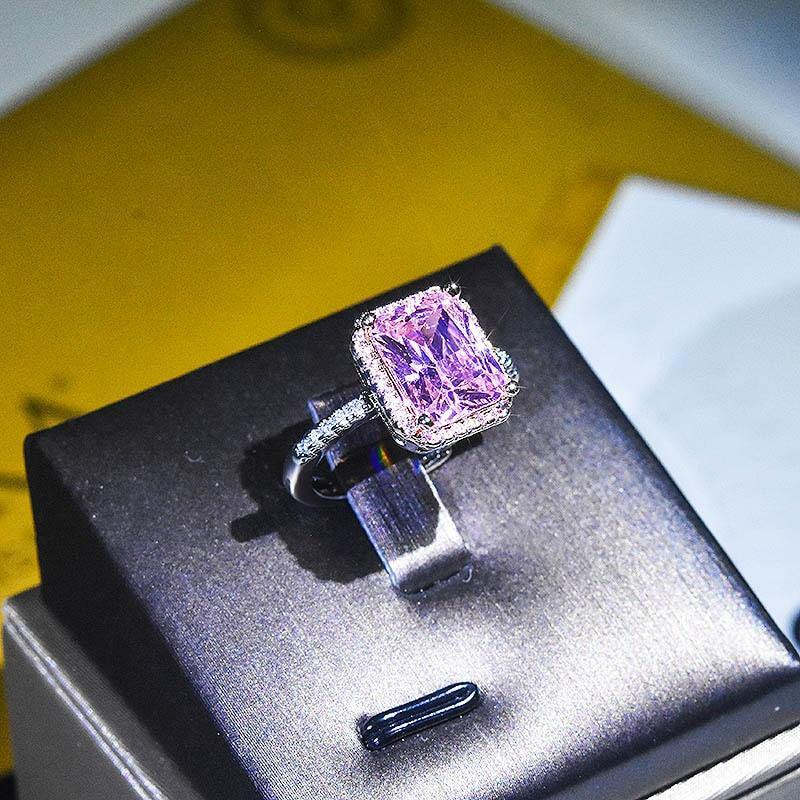 Natural Amethyst Topaz Gemstone Resizable Rings for Women Solid 14K White Gold Pave Setting Square Bizuteria 14K White Gold Ring | akolzol