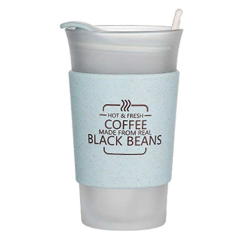 Simple Glass Coffee Cup Personality With Lid Heat Insulation Cup Cover Water Drinking Cup Office Home Glass Water Cup | akolzol