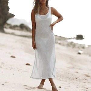 White Slim beach dress women Knitted gossamer tunic beach wear See through swimsuit cover-ups 2020 Sexy kimono New kaftan | akolzol