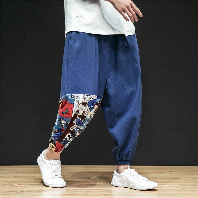 2020 Casual Loose Harem Pants Men Harajuku Patchwork Men Trousers Chinese Style Linen Vintage Retro Streetwear Men Pants | akolzol