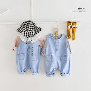 2021 Baby Spring Clothing Newborn Infant Baby Boy Denim Romper Sleeveless Baby Girl Jumpsuit Clothes Solid Kids Overalls | akolzol