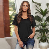 New Summer Women Tshirts V-neck Solid color Tshirt Plus Size 2XL Black Loose Tops For Fashion Women's Sundress Clothing 2021 | 2021, Black, Clothing, color, Fashion, For, Loose, New, Plus, Size, Solid, Summer, Sundress, Tops, Tshirt, Tshirts, Vneck, Women, Womens, XL | akolzol