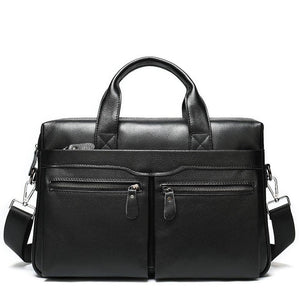 Maleta vintage men genuine leather bag laptop handbag men office bag cowhide briefcase for man business bag bolso de mano hombre (Black) | akolzol