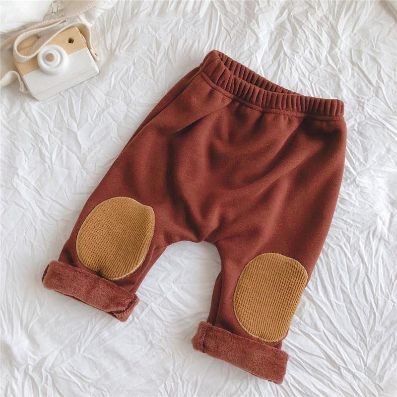 New Autumn And Winter Trousers Baby Girl Clothes Boys'clothes Pure Color Plus Velvet Padded Large Patch Outer Wear Trousers | akolzol