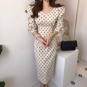 French Style Spring Autumn Women Casual Polka Dot Print A-Line Party Corduroy Dresses Eleagnt Lace-Up Slim  Fashion | ALine, Autumn, Casual, Corduroy, Dot, Dresses, Eleagnt, Fashion, French, LaceUp, Party, Polka, Print, Slim, Spring, Style, Women | akolzol