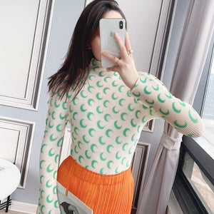 pleated aesthetic top women 2020 autumn winter moon print slim high elastic crop long sleeve top T-shirt bottoming | akolzol