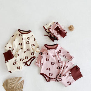 MILANCEL 2020 autumn new baby clothing set infant girls bodysuit high waist pants and hat 3 pcs set bear pint baby boys suit | akolzol
