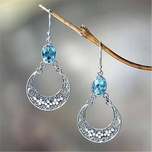Real 925 Sterling Silver color Drop Earrings for Women Fine Pure Sapphire Stone Jewelry Orecchini Gemstone S925 Silver Earrings (Blue) | akolzol