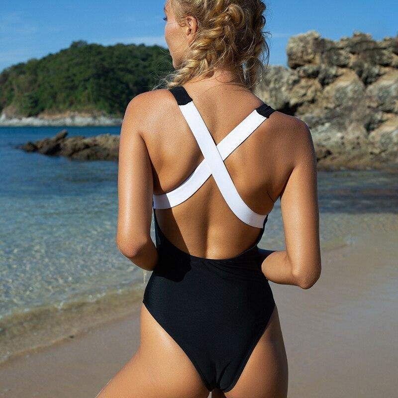 Sexy zipper swimsuit Pacthwork one-piece suit Bandage lace up bathing suit Retro monokini Sport high cut swimwear women | akolzol
