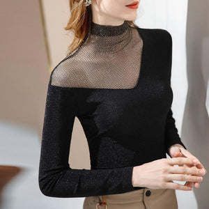 New Spring Autumn Women Tshirts Turtleneck Long Sleeve Size Oblique shoulder Spliced Mesh Tops 2020 Fall Womens Clothing Fashion | 2020, Autumn, Clothing, Fall, Fashion, Long, Mesh, New, Oblique, shoulder, Size, Sleeve, Spliced, Spring, Tops, Tshirts, Turtleneck, Women, Womens | akolzol