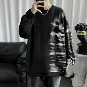 Spring Autumn Cotton Tie-dye T-shirt Men's Fashion Retro Casual T Shirt Men Streetwear Korean Loose Long-sleeved Tshirt Mens | akolzol
