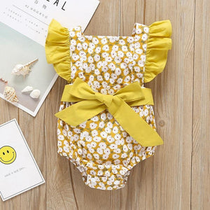 Baby Newborn Girls Clothes Floral Backless Design Jumpsuit Flare Sleeve Bodysuits Infant Casual Bodysuit Outfits 23 | akolzol