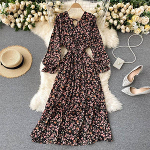 2021 French Spring Summer Women's Floral Chiffon Dress Femme Robe Long Sleeve Fashion Sexy V-Neck Vintage Dress Korean Clothing | 2021, Chiffon, Clothing, Dress, Fashion, Femme, Floral, French, Korean, Long, Robe, Sexy, Sleeve, Spring, Summer, Vintage, VNeck, Womens | akolzol