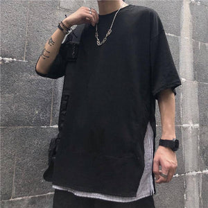 Summer Short-sleeved T Shirt Men's Fashion Stripes Stitching Casual Cotton T-shirt Men Street Wild Loose Korean Tshirt Mens Tops | akolzol