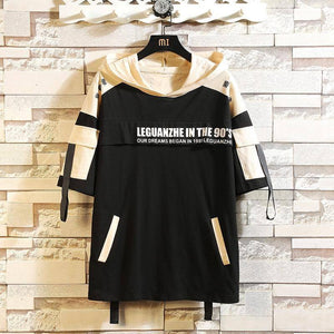 2020 New Men Hip Hop T Shirt High Street T-Shirt Streetwear T-Shirt Oversized Summer Black Tops Tees Hooded Korean T Shirts Male | akolzol