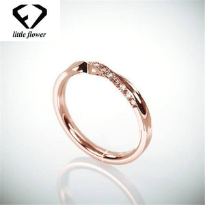 14K Rose Gold Single-row Diamond Ring Fashion Anillos De Bizuteria Engagement Gemstone Jewelry Gemstone Ring with Box for Women | akolzol