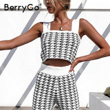 BerryGo Elegant Plaid women's two piece Square collar sexy knitted women's suit High street office autumn suit home set 2020 | akolzol