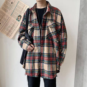Winter Thickening Woolen Shirt Men Fashion Retro Casual Woolen Jacket Man Streetwear Loose Woolen Coat Men Long Sleeve Shirt | akolzol