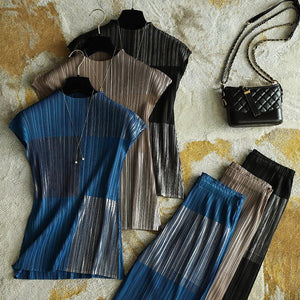Pleated two piece set sleeveless T-shirt straight trousers Brush metal loungewear women bts vintage aesthetic clothes | akolzol